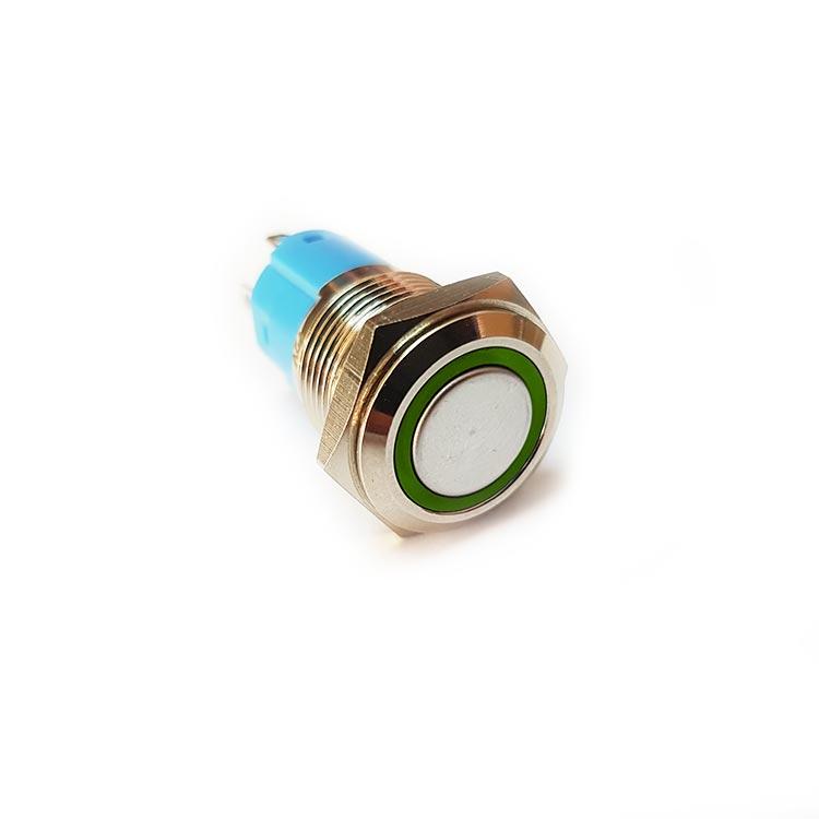 SS106 16mm Yeşil Ledli Yaylı Push Buton