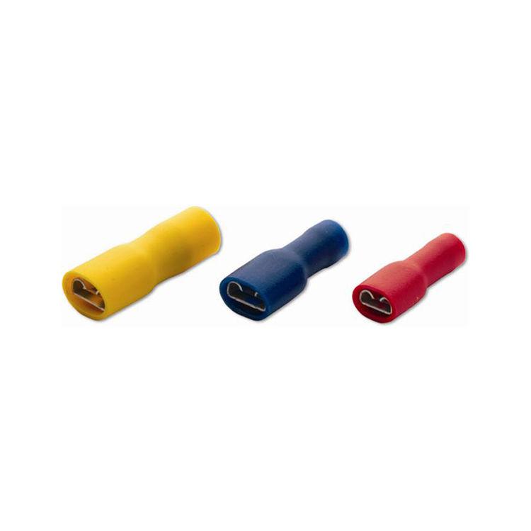 Tam İzoleli Dişi Faston Tip Kablo Ucu 6.35mm - Mavi - 10 Adet