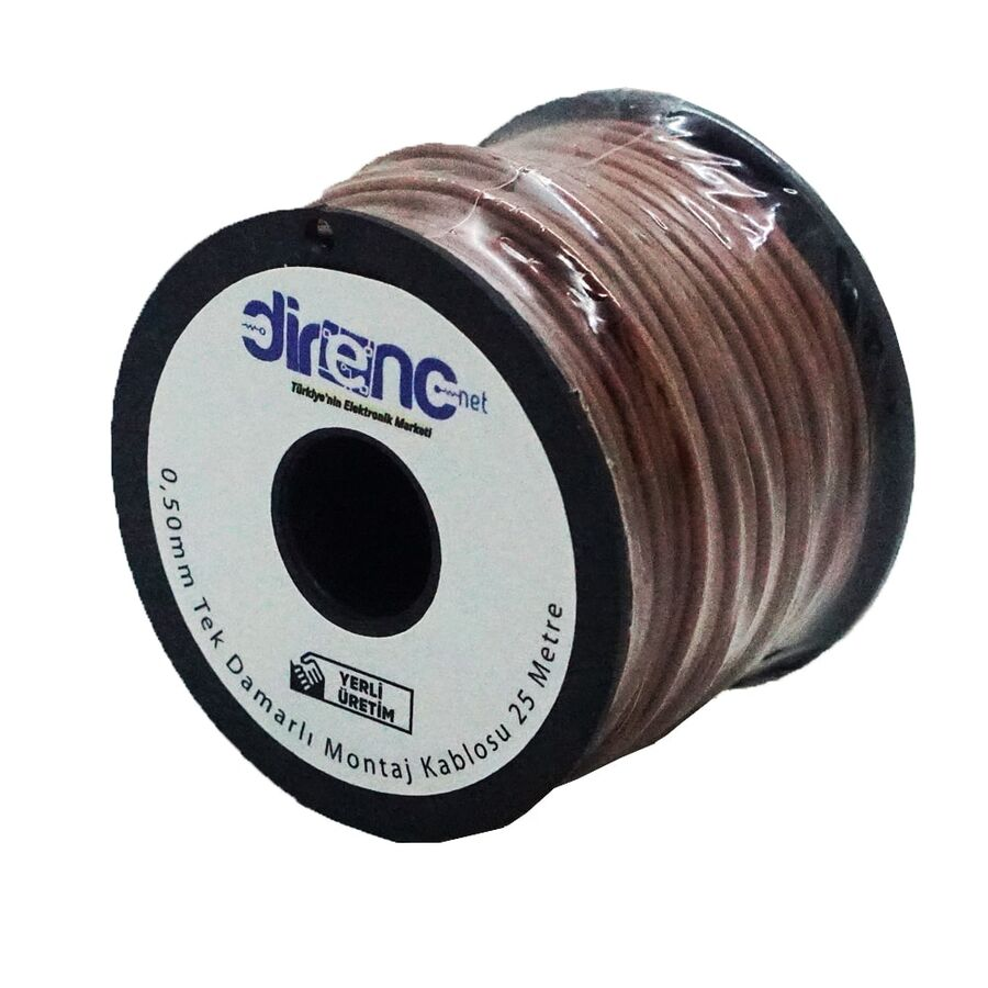 Tek Damarlı Montaj Kablosu 24AWG 25 Metre Kahverengi