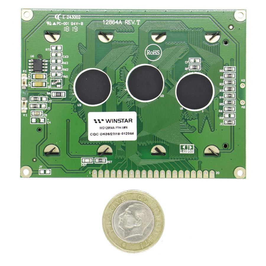 128x64 Grafik Lcd Ekran Yeşil - WG12864A-YYH-V#N