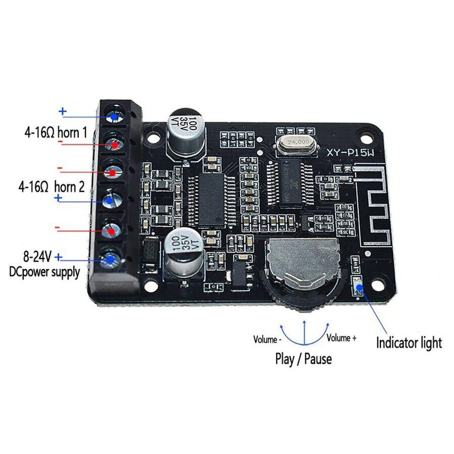 XY-P15W 15W Stereo Bluetooth Güç Amplifikatör Modülü
